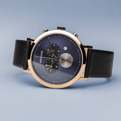 Bering Rose Gold Plated Black Strap Quartz Watch