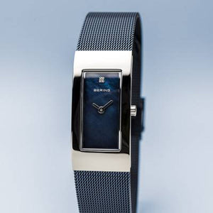 Bering Blue and Stainless Steel Rectangular Quartz Bracelet Watch