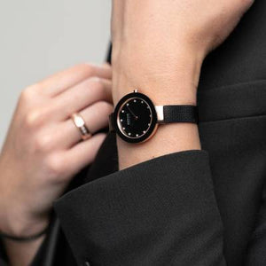 Bering Black and Rose Gold Plated Quartz Bracelet Watch