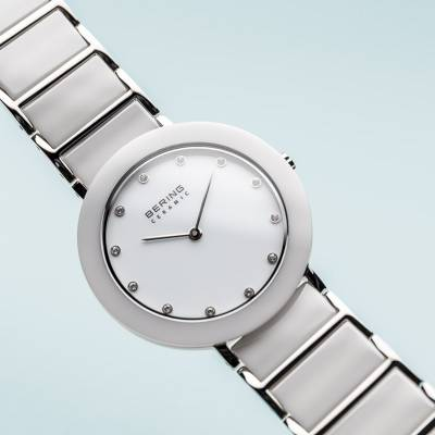 Bering White Ceramic and Stainless Steel Quartz Bracelet Watch