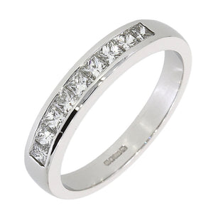 Platinum Princess Cut Channel Set Ring