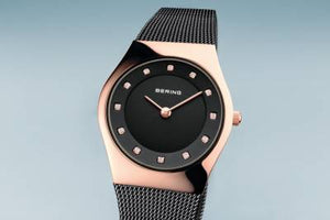 Bering Quartz Black and Rose Gold plated Bracelet Watch