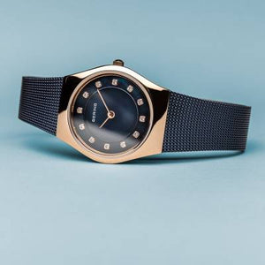 Bering Quartz Blue and Rose Gold Bracelet Watch