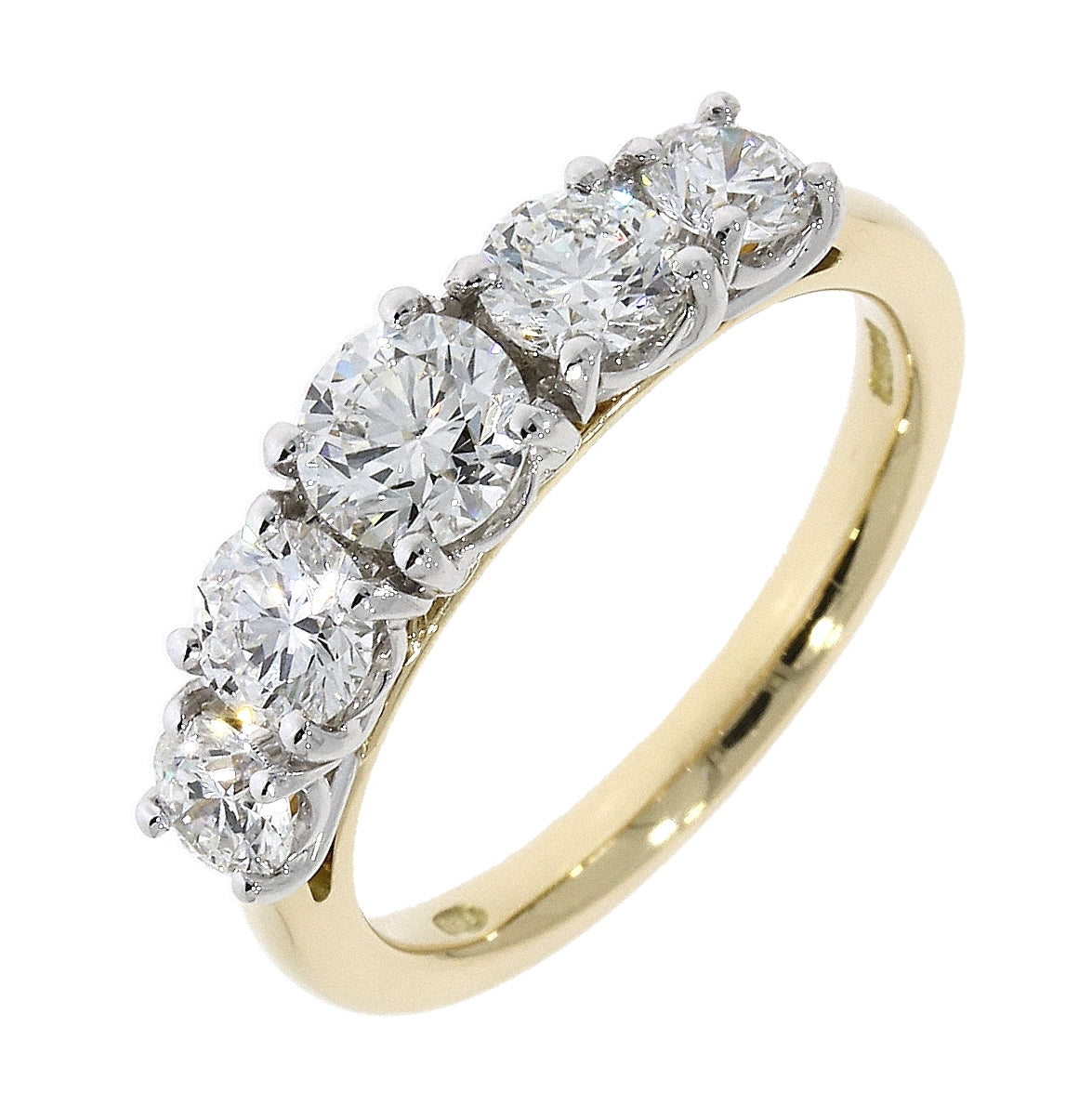 18ct Yellow and white Gold Graduated Five Stone Diamond Eternity Ring
