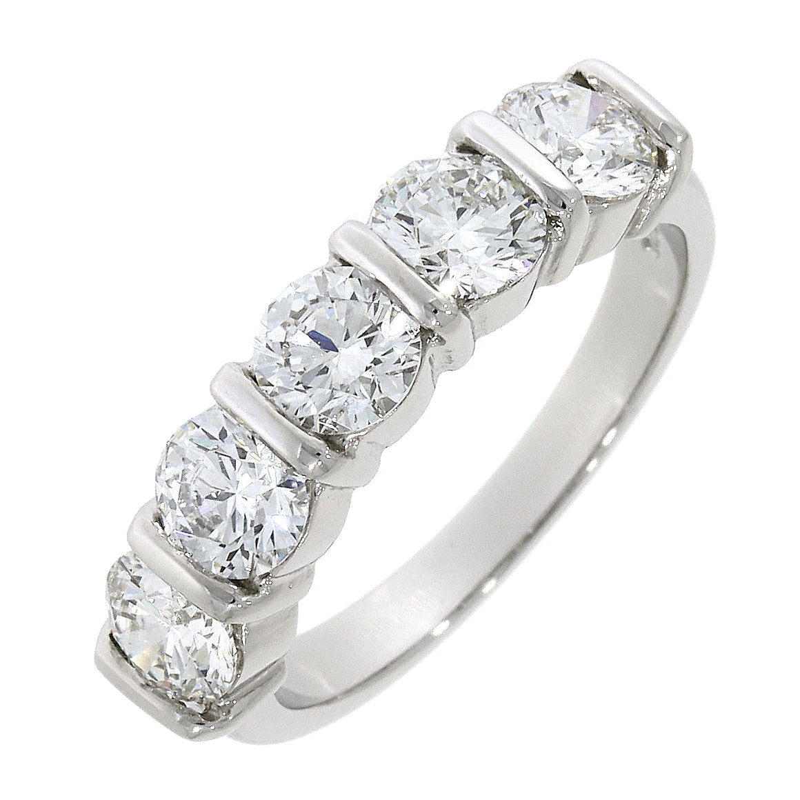 Platinum Five Stone Diamond Bar Set Eternity Ring