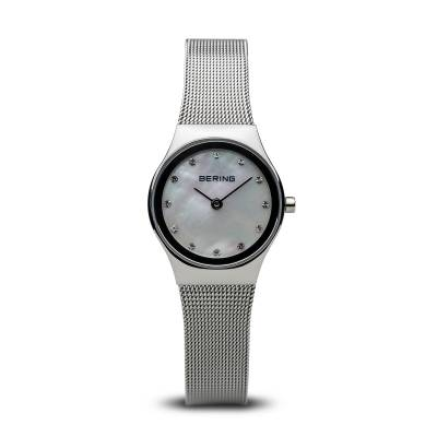 Bering Quartz Stainless Steel MOP and Stone Set Bracelet Watch