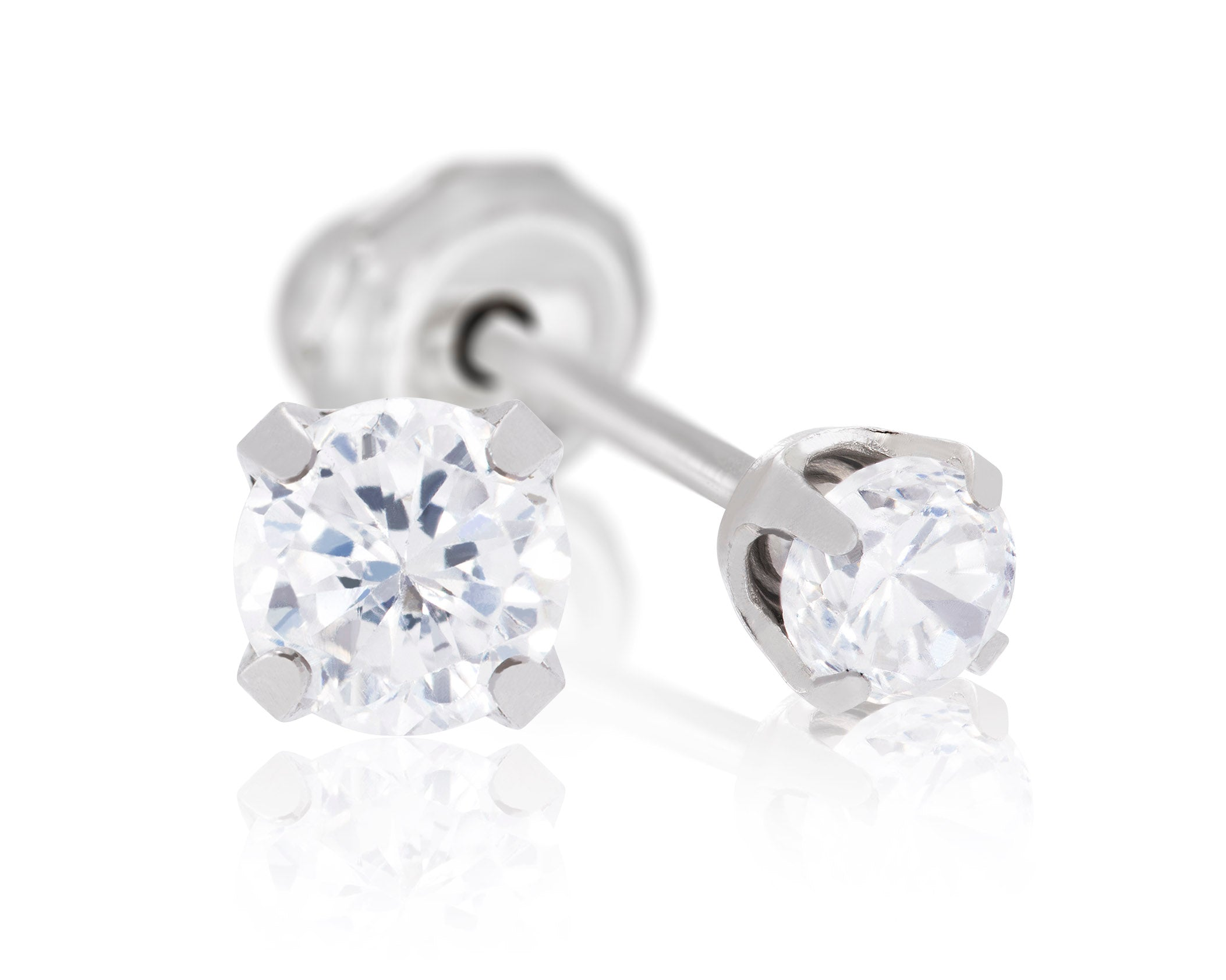 9ct White Gold 3mm CZ Piercing Studs