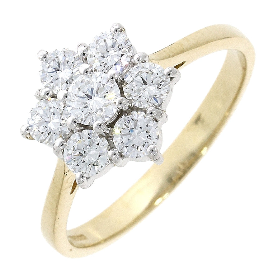 18ct Yellow and White Gold Diamond Cluster Ring