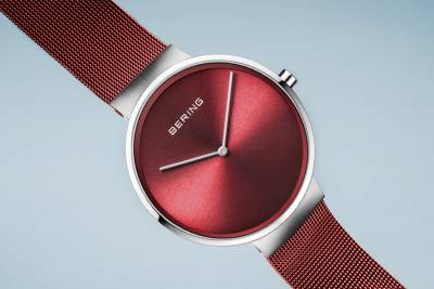 Bering Quartz Red and Stainless Steel Bracelet Watch