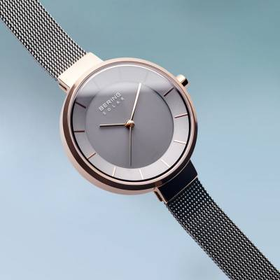 Bering Solar Rose and Stainless Steel Bracelet Watch