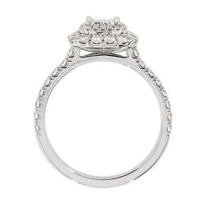 Platinum Diamond Cushion Halo Cluster Ring