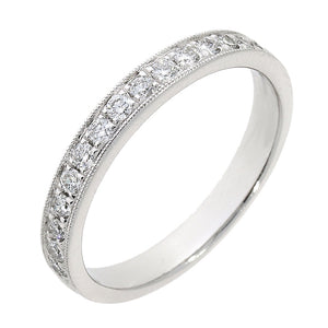 18ct White Gold Millegrain Diamond Set Ring