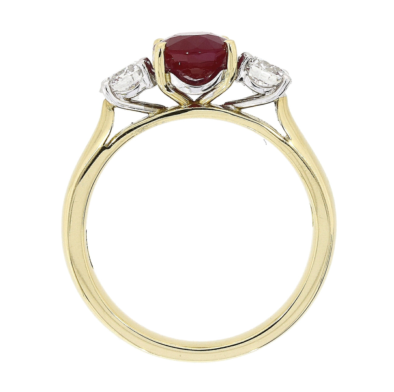 18ct Yellow and White Gold Ruby and Diamond Trinity Ring