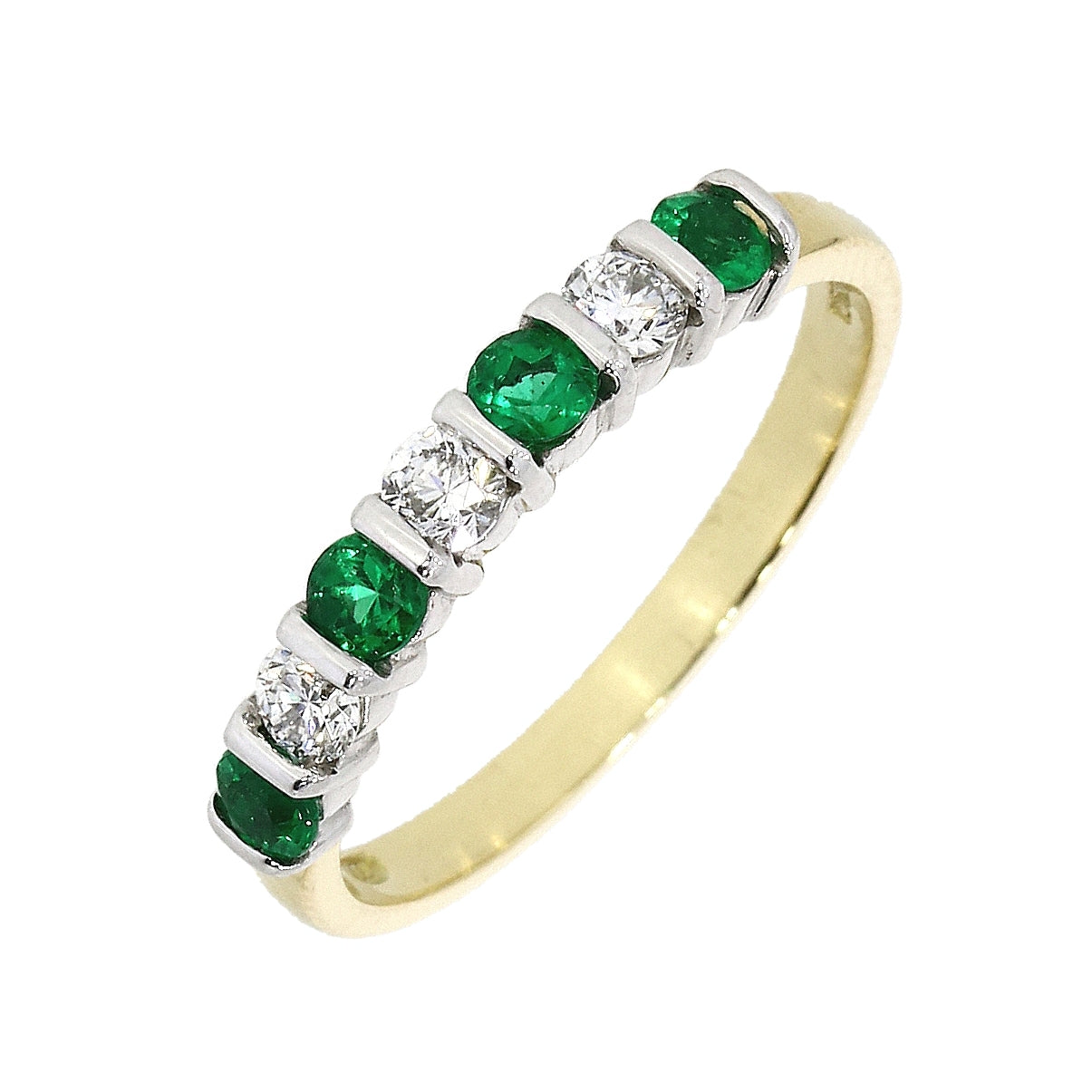 18ct Yellow and White Emerald and Diamond Eternity Ring