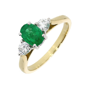 18ct Yellow and White Gold Emerald and Diamond Trinity Ring
