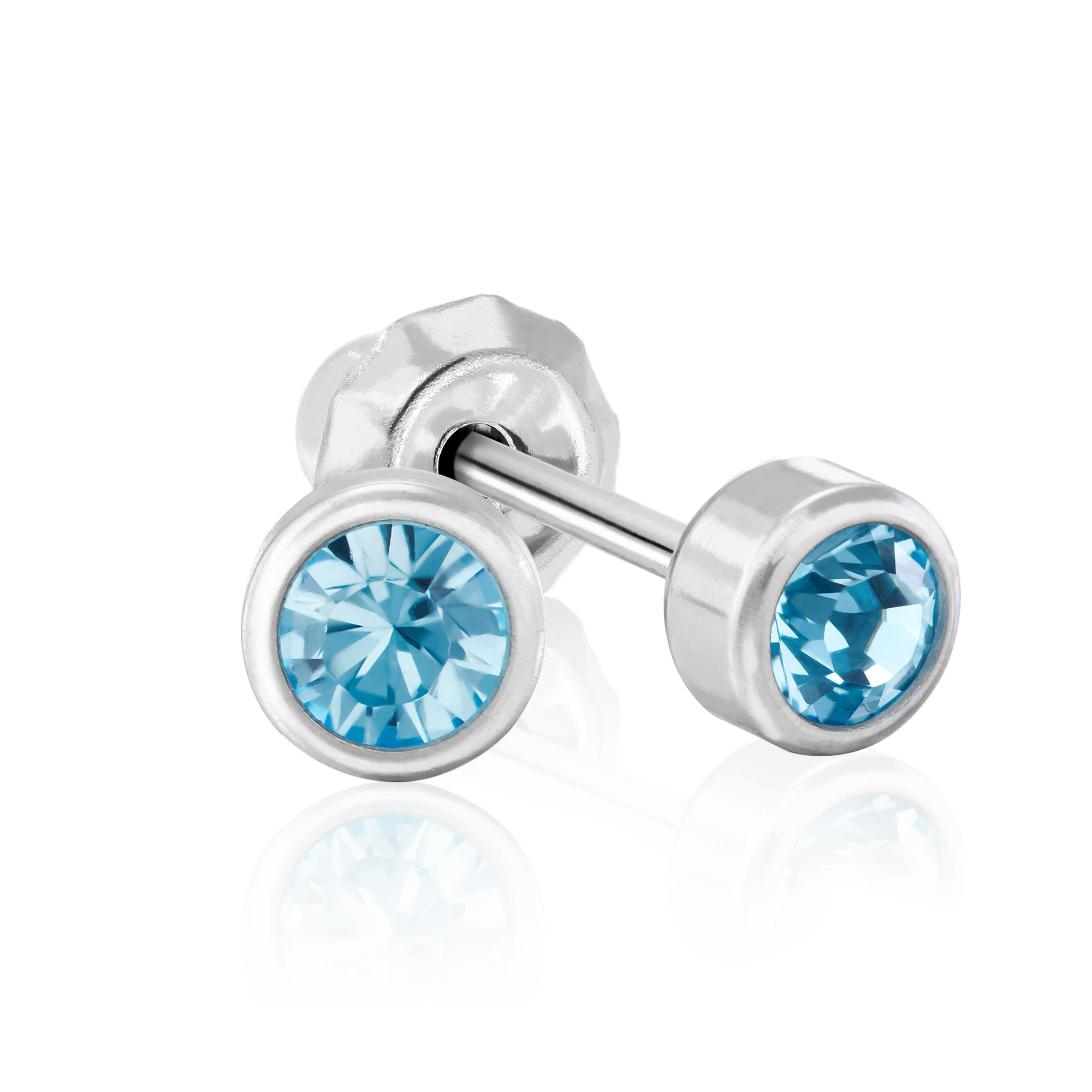 Stainless Steel Medical Grade 4mm Blue Crystal Piercing Studs