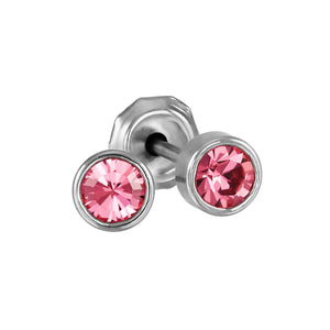 Stainless Steel Medical Grade 4mm Pink Crystal Piercing Studs