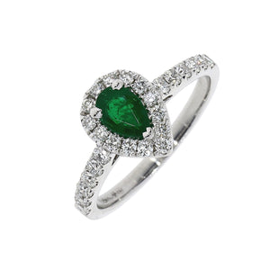 18ct White Gold Emerald Pearshape and Diamond Cluster Ring