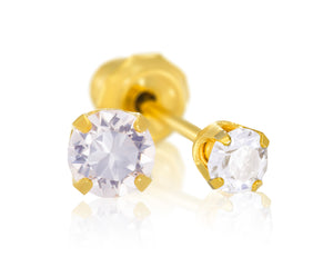 9ct Yellow Gold 3mm CZ Piercing Studs
