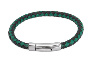 Green and Black Leather 21cm Bracelet