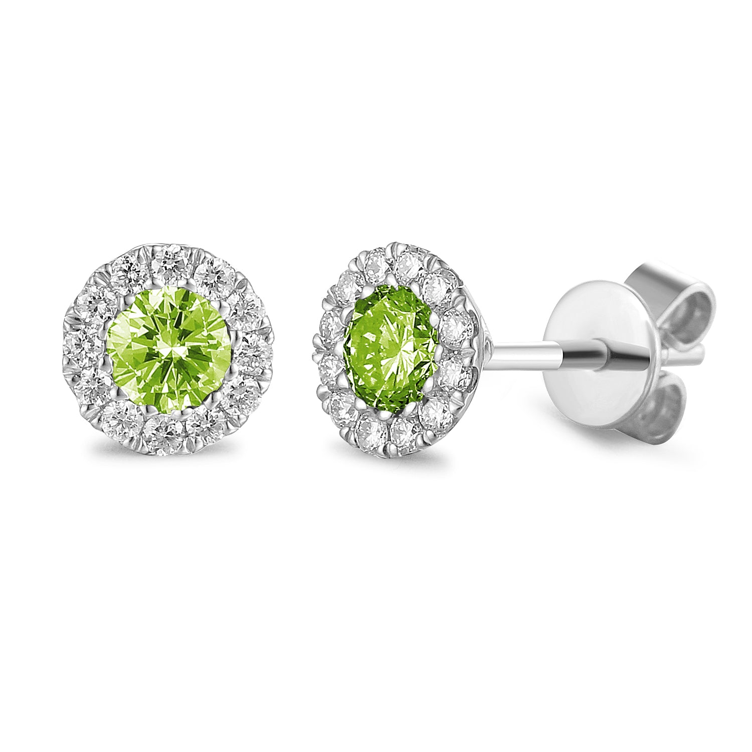 AUGUST - 9ct White Gold Peridot and Diamond Cluster Earrings