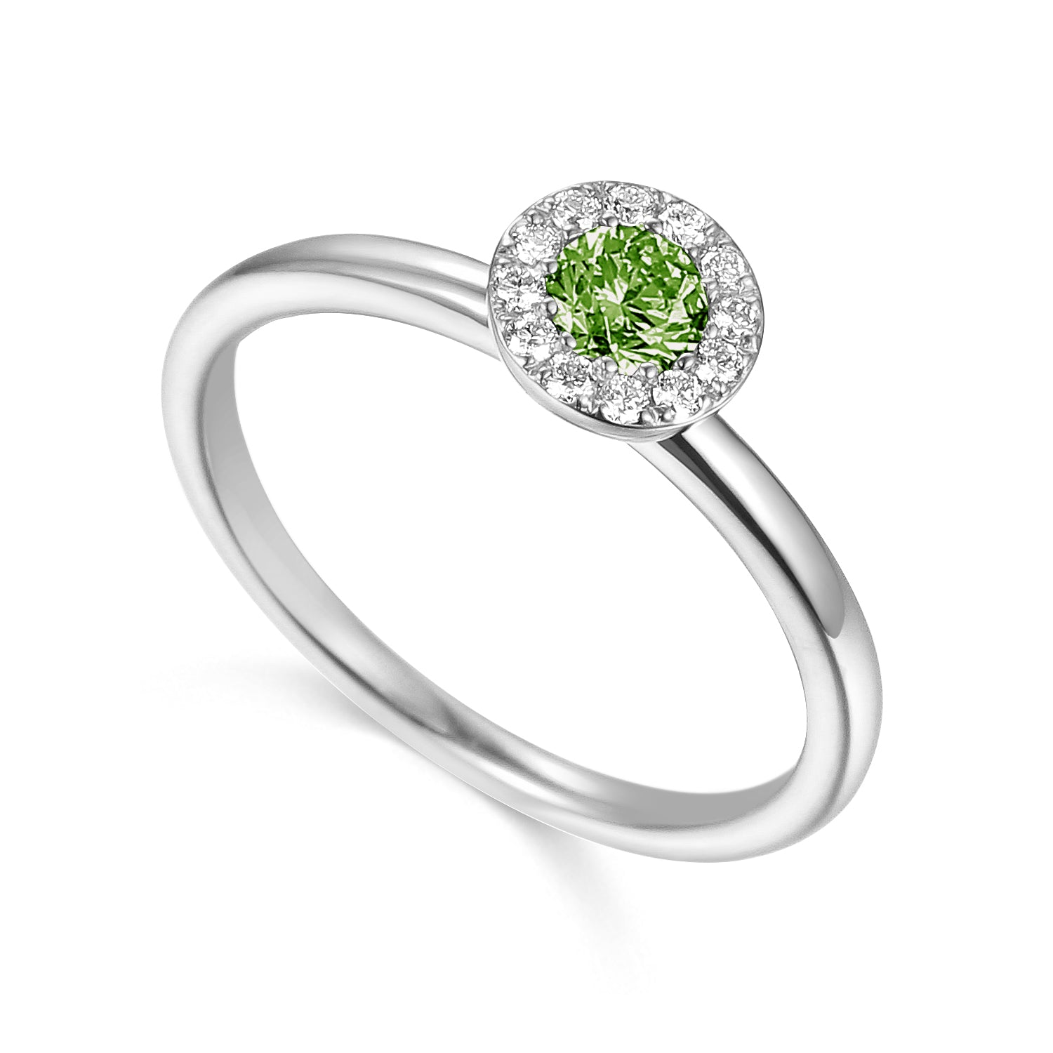 AUGUST - 9ct White Gold Peridot and Diamond Cluster Ring