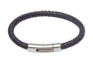 Blue and Brown Leather Bracelet