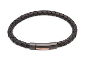 Black Leather 21cm Bracelet