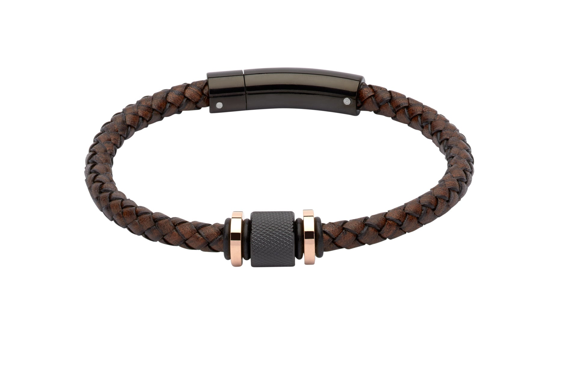 Brown and Black Leather Bracelet