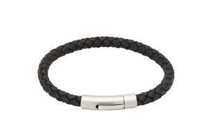 Black Leather Bracelet with Matte and Polished Steel Clasp