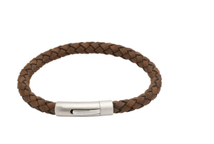 Dark Brown Leather Bracelet with Matt and Polished Steel Clasp