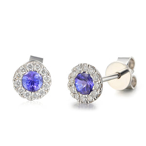 DECEMBER- 9ct White Gold Tanzanite and Diamond Cluster Stud Earrings