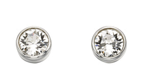 Silver April Birthstone Stud Earrings