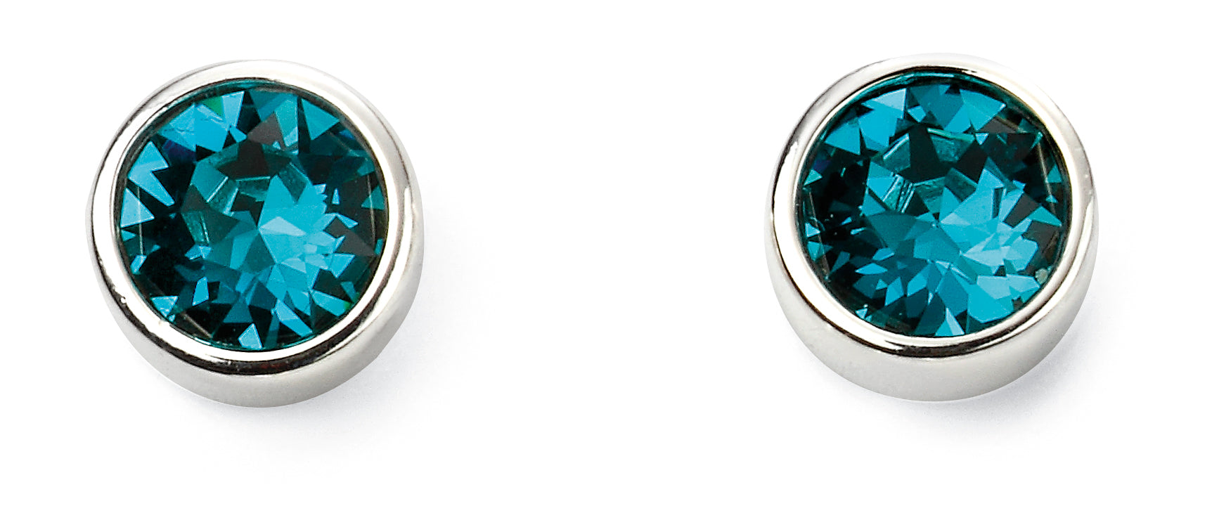 Silver December Birthstone Stud Earrings