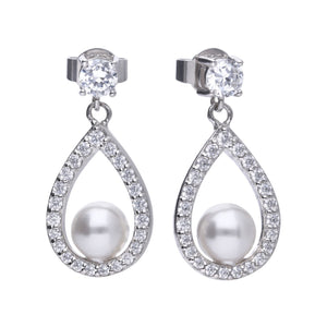 Diamonfire Sterling Silver Teardrop Pearl and CZ Earrings