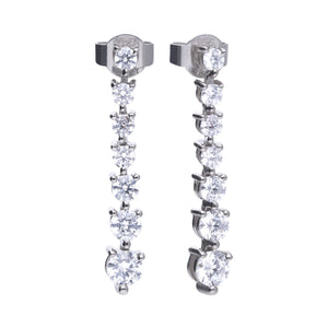 Diamonfire Sterling Silver CZ Drop Earrings