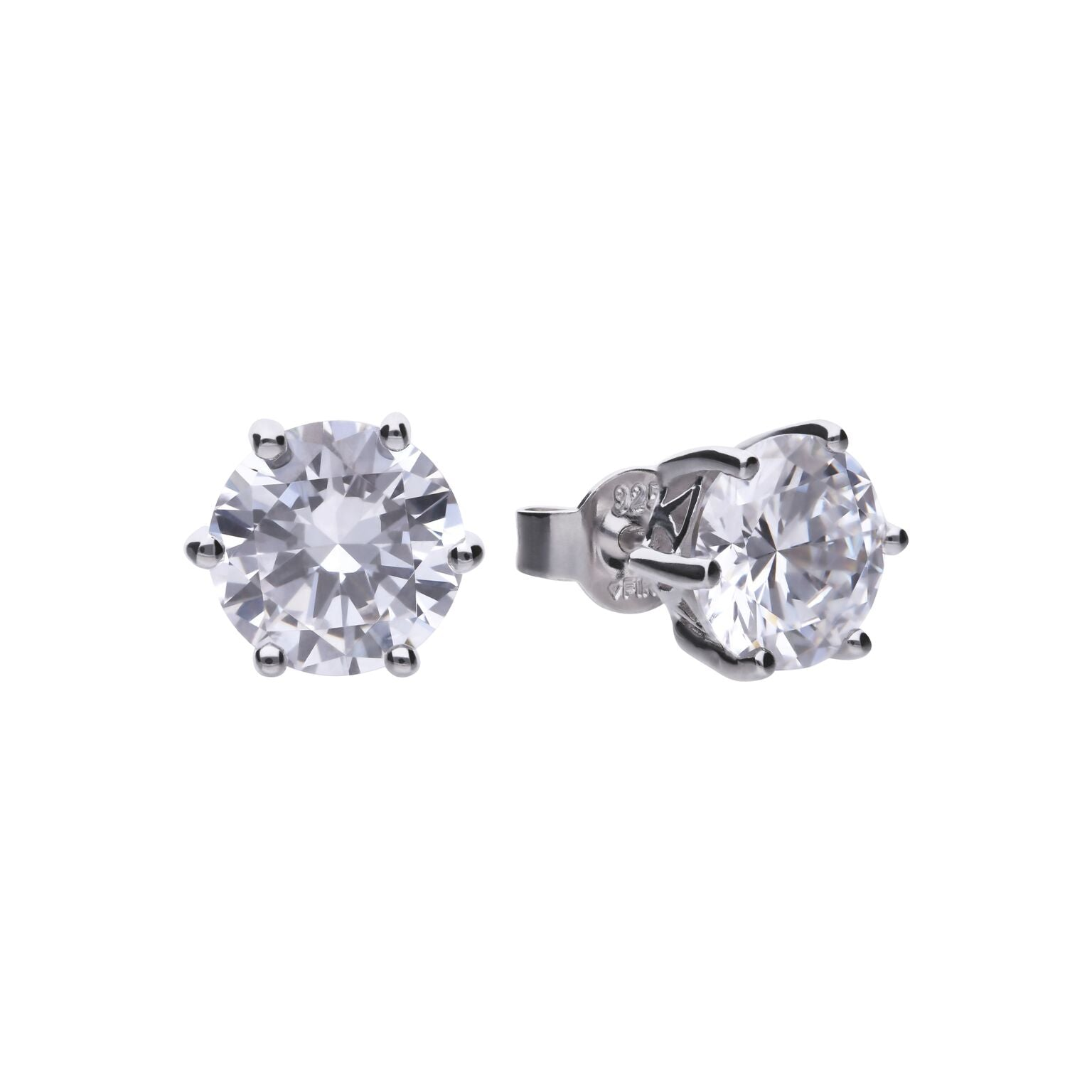 Diamonfire Sterling Silver 4ct CZ Stud Earrings