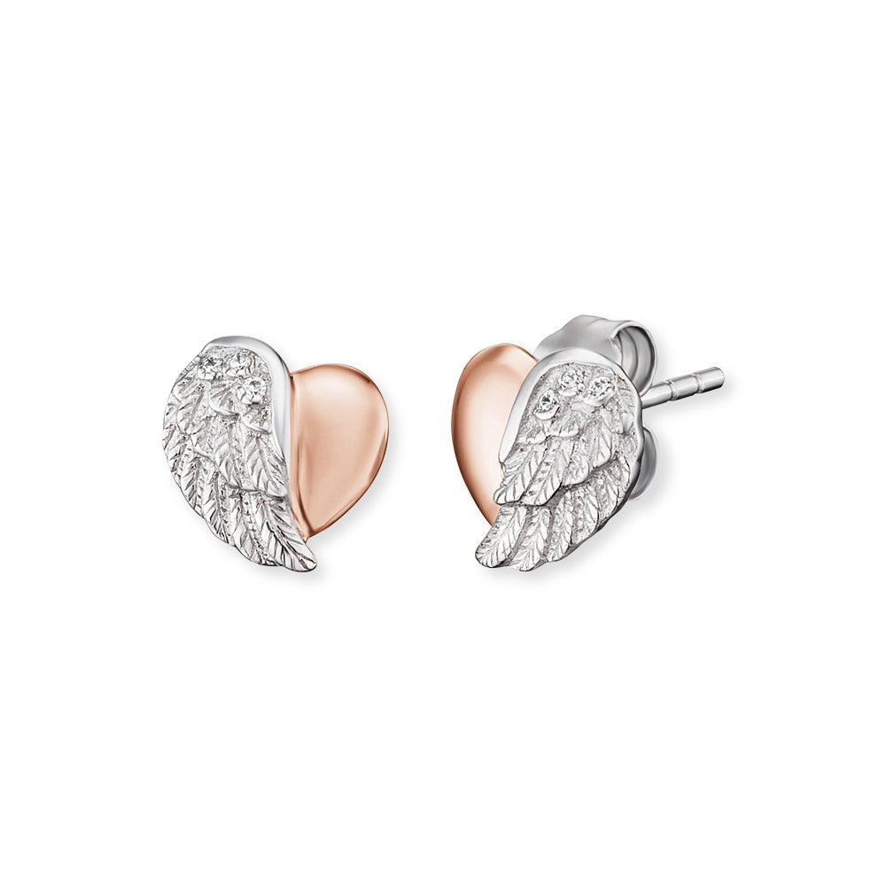 Heart Wing Rose and Silver CZ Stud Earrings