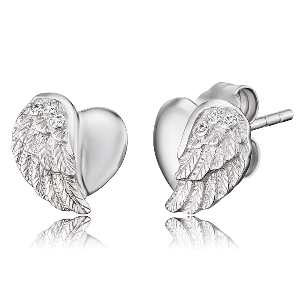 Heart Wing Silver CZ Stud Earrings