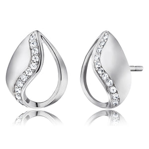 Tear Of Heaven Silver and CZ Pearshape Stud Earrings