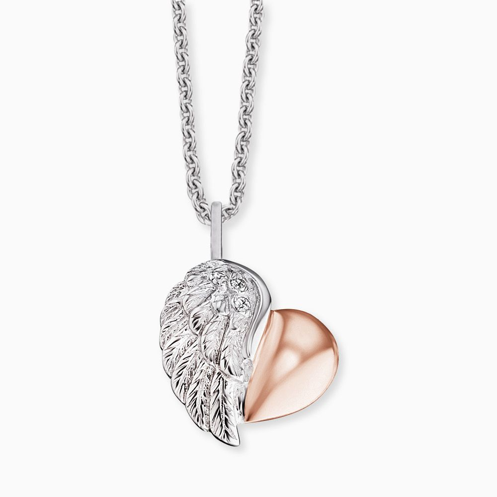 Heart Wing Silver and Rose and CZ Pendant and Chain