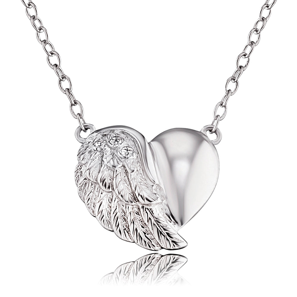 Heart Wing Silver CZ Necklace
