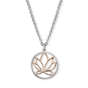 Lotus Blossom Rose and Silver Pendant and Chain
