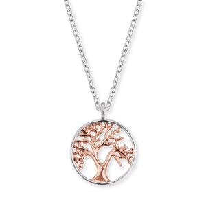 Tree Of Life Rose and Silver Pendant and Chain