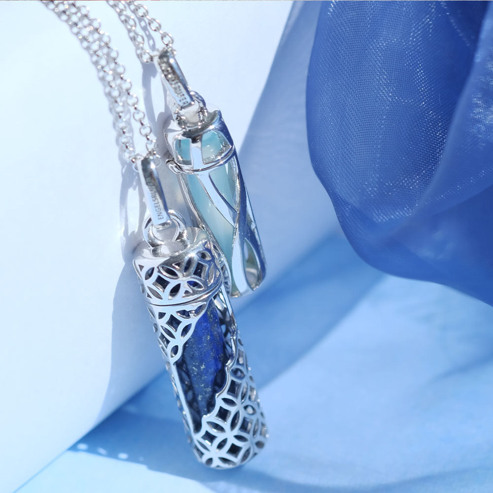 Powerful Stone Blue Agate Silver Pendant and Chain