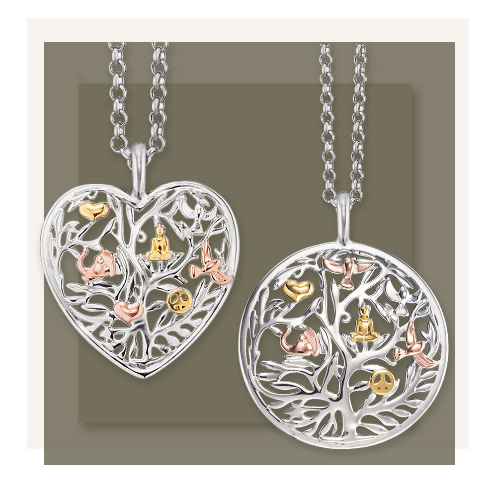 Tree Of Life Three Colour Heart Pendant and Chain