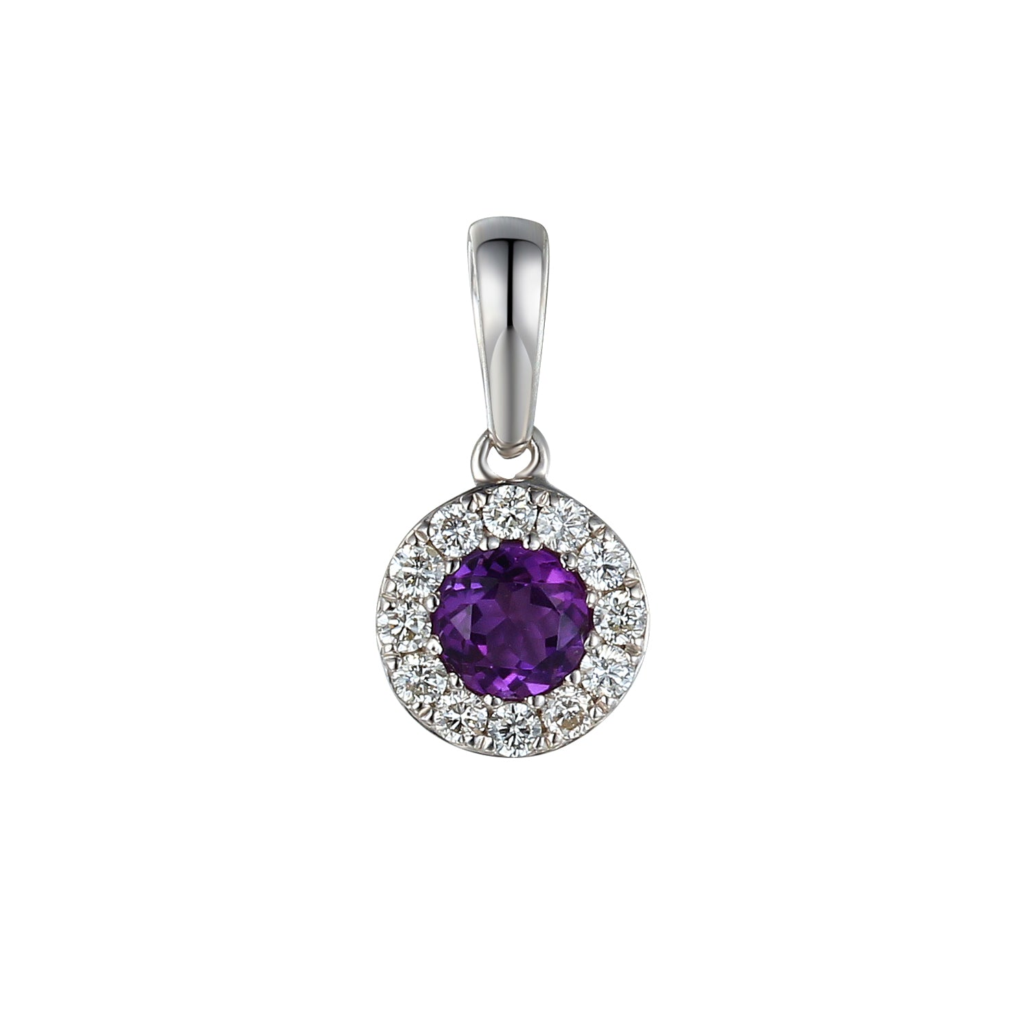 FEBRUARY - 9ct White Gold Amethyst and Diamond Cluster Pendant Only