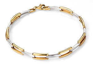 9ct Yellow and White Gold Rectangular Open Link Bracelet