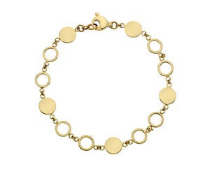 9ct Yellow Gold Round Solid and Open Link Bracelet
