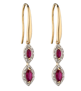 9ct Ruby and Diamond Drop Earrings